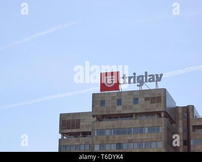 LJUBLJANA, SLOVENIA - MARCH 22 2019: Zavarovalnica Triglav main building - Stock Photo