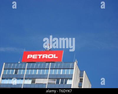 LJUBLJANA, SLOVENIA - MARCH 22 2019: Petrol main building in ljubljana slovenia is biggest gas company in country - Stock Photo