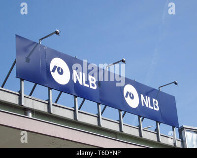 LJUBLJANA, SLOVENIA - MARCH 22 2019: NLB bank nova ljubljanska banka is one of the biggest slovenian bank - Stock Photo