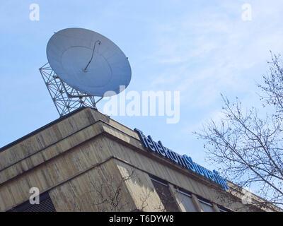 LJUBLJANA, SLOVENIA - MARCH 22 2019: Telekom slovenije sign on a main building in ljubljana - Stock Photo