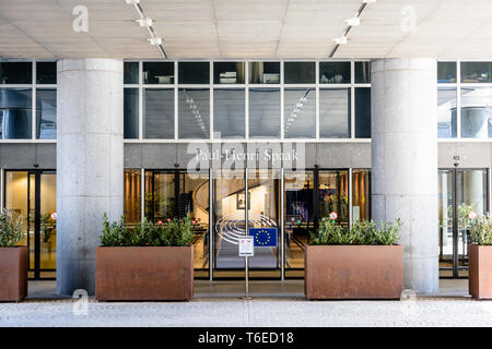 Front view of the main entrance of the Paul-Henri Spaak building, seat of the European Parliament hemicycle in Brussels, Belgium. - Stock Photo