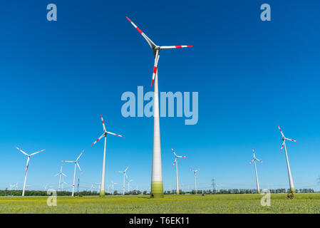 Many wind engines on a sunny day seen in Germany - Stock Photo