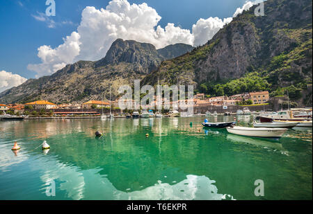 Bay and boats in Kotor, Montenegro - Stock Photo