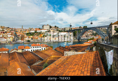 Portugal old town on the Douro River in Porto. - Stock Photo