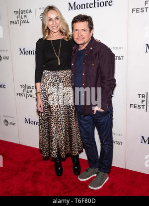 New York, NY - April 30, 2019: Tracy Pollan and Michael J Fox attend the Tribeca Talks - Storytellers - 2019 Tribeca Film Festival at BMCC Tribeca PAC - Stock Photo