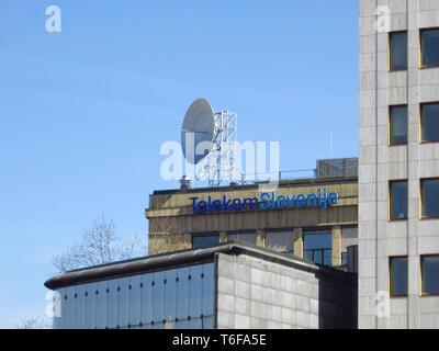 LJUBLJANA, SLOVENIA - MARCH 22, 2019: Telekom slovenije sign on a main building in ljubljana - Stock Photo