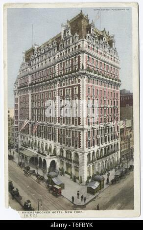 Detroit Publishing Company vintage postcard reproduction of the Knickerbocker Hotel at the corner of Broadway and 42nd Street, Manhattan, New York, 1914. From the New York Public Library. () - Stock Photo