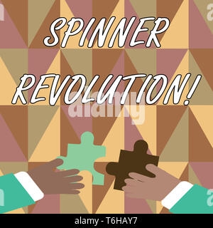 Handwriting text writing Spinner Revolution. Conceptual photo a toy that help relieve stress and cope with anxiety Two Hands Holding Colorful Jigsaw P - Stock Photo