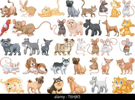 Set of pet character illustration - Stock Photo