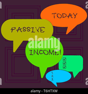 Word writing text Passive Income. Business photo showcasing the earnings derived from a rental property and others Many Color Speech Bubble in Differe - Stock Photo