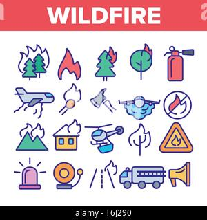 Wildfire, Bushfire Vector Icons Set. Wildfire, Natural Disaster Linear Illustrations. Forests, Houses in Flames. Announcing Fire Danger Contour Pictog - Stock Photo