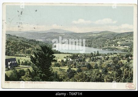 Detroit Publishing Company vintage postcard depicting the fields at the edge of Little Asquam Lake in greater Lake Winnipesaukee, New Hampshire, 1914. From the New York Public Library. () - Stock Photo