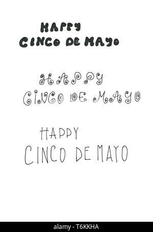 Three Cinco de Mayo handlettered types - Stock Photo