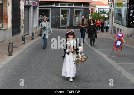 Colmernar Viejo, Madrid, Spain. 2nd May, 2019. A Maya girl is seen walking on a street during the traditional celebration of 'Las Mayas' in Colmenar Viejo.The festivity of the Mayas comes from pagan rites and dates from the medieval age, appearing in ancient documents. It takes place every year in the beginning of May and celebrates the beginning of the spring. Girls between 7 and 11 years old are chosen as 'Maya' and should sit still, serious and quiet for a couple of hours in altars on the street decorated with flowers and plants. Credit: Jorge Sanz/SOPA Images/ZUMA Wire/Alamy Live News - Stock Photo