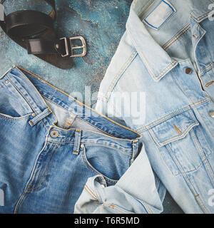 Denim fashion look - Stock Photo