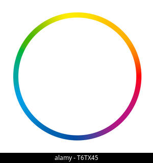 Gradient color ring. Rainbow colored thin circle - illustration on white background. - Stock Photo