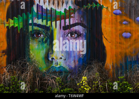 A graffiti style painting of a woman's face on a rusty corrugated metal fence as part of a show garden at the RHS Spring Flower Show, Cardiff, UK - Stock Photo