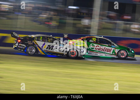 Barbagallo Raceway, Neerabup, Australia. 3rd May, 2019. Virgin Australia Supercars Championship, PIRTEK Perth SuperNight, day 2; Scott Pye, Rick Kelly during Race 11 Credit: Action Plus Sports/Alamy Live News - Stock Photo