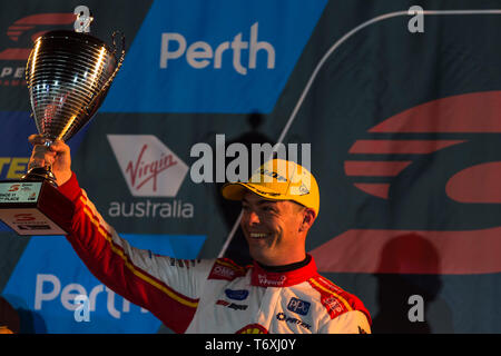 Barbagallo Raceway, Neerabup, Australia. 3rd May, 2019. Virgin Australia Supercars Championship, PIRTEK Perth SuperNight, day 2; Scott McLaughlin is second in Race 11 Credit: Action Plus Sports/Alamy Live News - Stock Photo