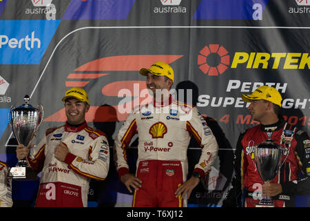 Barbagallo Raceway, Neerabup, Australia. 3rd May, 2019. Virgin Australia Supercars Championship, PIRTEK Perth SuperNight, day 2; Race 11 podium, Fabian Coulthard, Scott McLaughlin, Chaz Mostert Credit: Action Plus Sports/Alamy Live News - Stock Photo