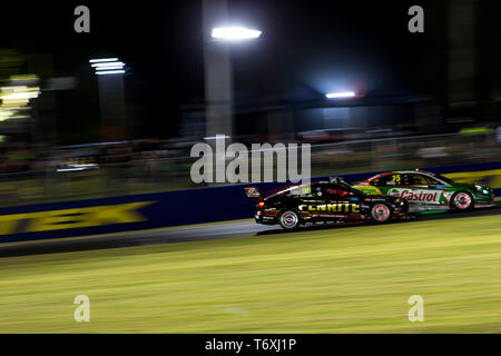 Barbagallo Raceway, Neerabup, Australia. 3rd May, 2019. Virgin Australia Supercars Championship, PIRTEK Perth SuperNight, day 2; Anton de Pasquale, Rick Kelly during Race 11 Credit: Action Plus Sports/Alamy Live News - Stock Photo