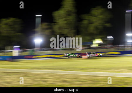 Barbagallo Raceway, Neerabup, Australia. 3rd May, 2019. Virgin Australia Supercars Championship, PIRTEK Perth SuperNight, day 2; Shane van Gisbergen, Lee Holdsworth during Race 11 Credit: Action Plus Sports/Alamy Live News - Stock Photo