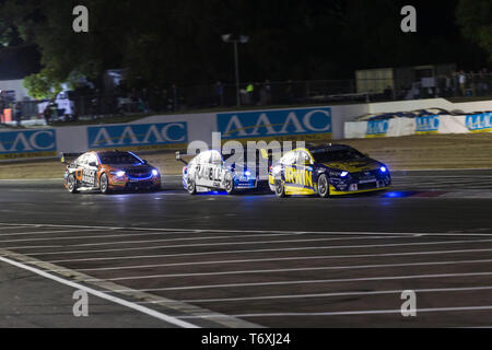 Barbagallo Raceway, Neerabup, Australia. 3rd May, 2019. Virgin Australia Supercars Championship, PIRTEK Perth SuperNight, day 2; Mark Winterbottom, Garry Jacobson, Jack Le Brocq during Race 11 Credit: Action Plus Sports/Alamy Live News - Stock Photo