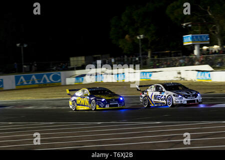 Barbagallo Raceway, Neerabup, Australia. 3rd May, 2019. Virgin Australia Supercars Championship, PIRTEK Perth SuperNight, day 2; Mark Winterbottom, James Courtney during Race 11 Credit: Action Plus Sports/Alamy Live News - Stock Photo