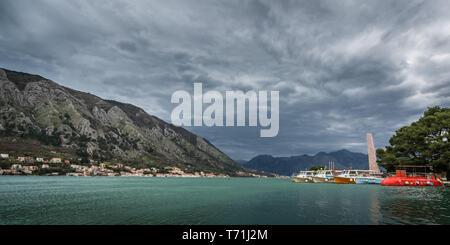 Boats in Kotor bay in Montenegro - Stock Photo