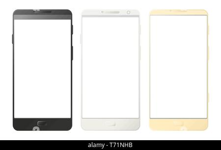 Mobile phones, smartphones isolated on white background. Digital devices set in black, white and gold color. Vector - Stock Photo