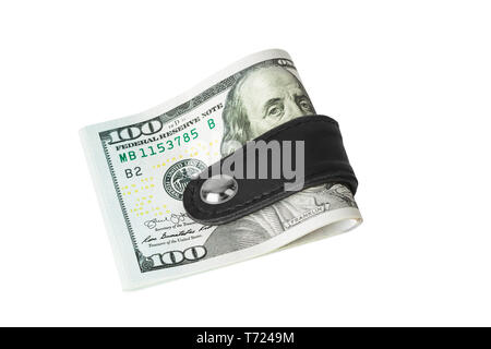 Money clip holding a bunch of dollars - Stock Photo