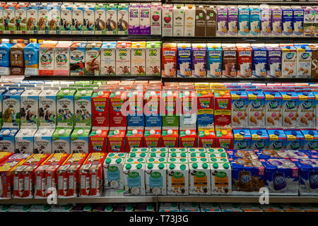 A wide and varied selection of milk in a supermarket cooler in New York on Thursday, May 2, 2019.  (© Richard B. Levine) - Stock Photo