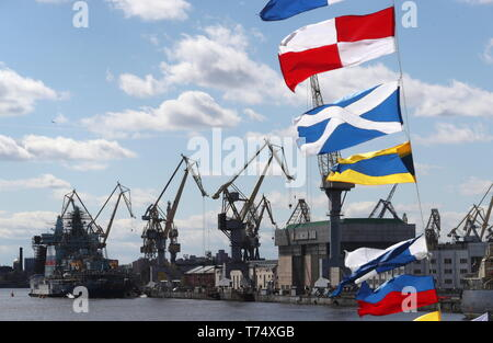 St Petersburg, Russia. 04th May, 2019. ST PETERSBURG, RUSSIA - MAY 4, 2019: A view of the Baltic Shipyard at a ceremony to open the 2019 Icebreaker Festival. Alexander Demianchuk/TASS Credit: ITAR-TASS News Agency/Alamy Live News - Stock Photo