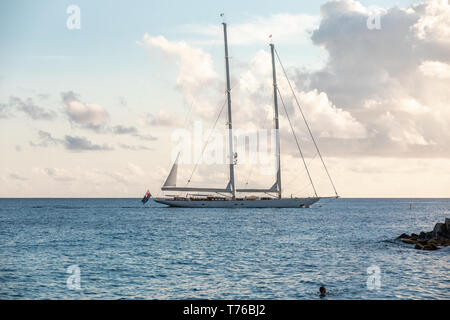 large private sailing yacht off the coast of St Barts - Stock Photo