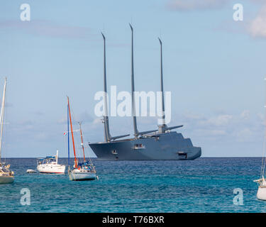 Largest sailing super yacht in the world designed by Philippe Stark in St Barts - Stock Photo