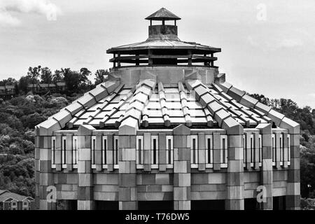 This architectural detail reveals the Art Deco tiling of the City Building's octagonal rotunda in Asheville, NC, USA - Stock Photo