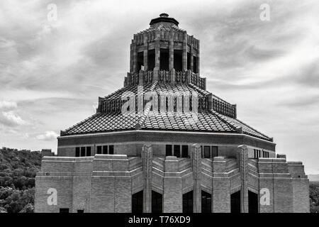 The octagonal roof and cupola of the City Building in Asheville, NC, USA - Stock Photo