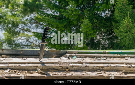 a terrible old combat knife stuck in the ruined window sill of an abandoned house on the background of green leaves of a coniferous tree outside the w - Stock Photo