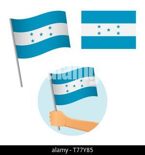Honduras flag in hand. Patriotic background. National flag of Honduras  illustration - Stock Photo