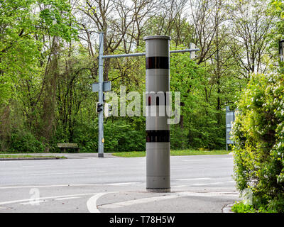 Image of new radar trap or speed trap (German Radarfalle) in German city traffic, isolated - Stock Photo