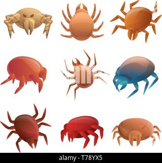 Mite icons set. Cartoon set of mite vector icons for web design - Stock Photo