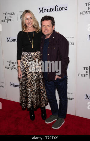 NEW YORK, NY - APRIL 30: Tracy Pollan and Michael J. Fox attend red carpet for the Tribeca Talks - Storytellers - 2019 Tribeca Film Festival at BMCC T - Stock Photo