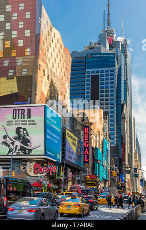 NEW YORK CITY- MARCH 23, 2018 : Broadway Theater District one of the main Manhattan Landmarks - Stock Photo