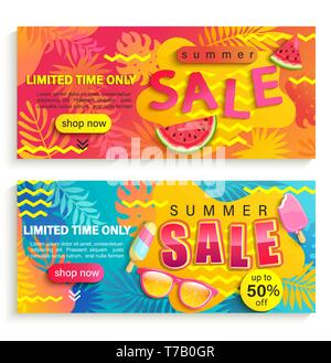 Set of summer sale banners, flyers. - Stock Photo