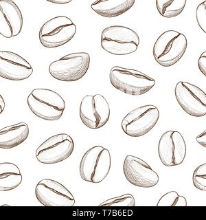 Coffee seamless pattern. Coffee beans hand-drawn background - Stock Photo