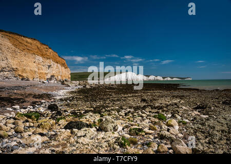 The Seven Sisters chalk cliffs East Sussex, UK - Stock Photo