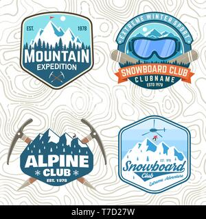 Set of mountain expedition and snowboard club patches. Vector. Concept for shirt or badge, print, tee. Vintage typography design with mountaineers and mountain silhouette. Outdoors adventure emblems - Stock Photo