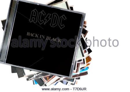 AC/DC, Back In Black album, CD music collection cases, England - Stock Photo