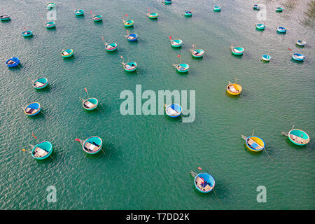 Top view. Aerial view fishing harbour from drone. image of basket boat at Mui Ne fishing harbour or fishing village. Fishing harbor is a popular touri - Stock Photo