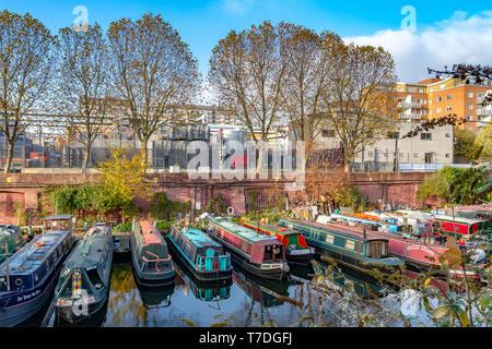 Narrow Boats on The  Grand Union Canal,London - Stock Photo